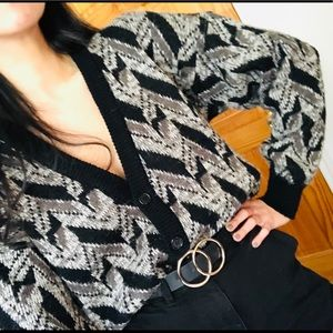 Vintage Check Sweater Chunky Knitted Cardigan